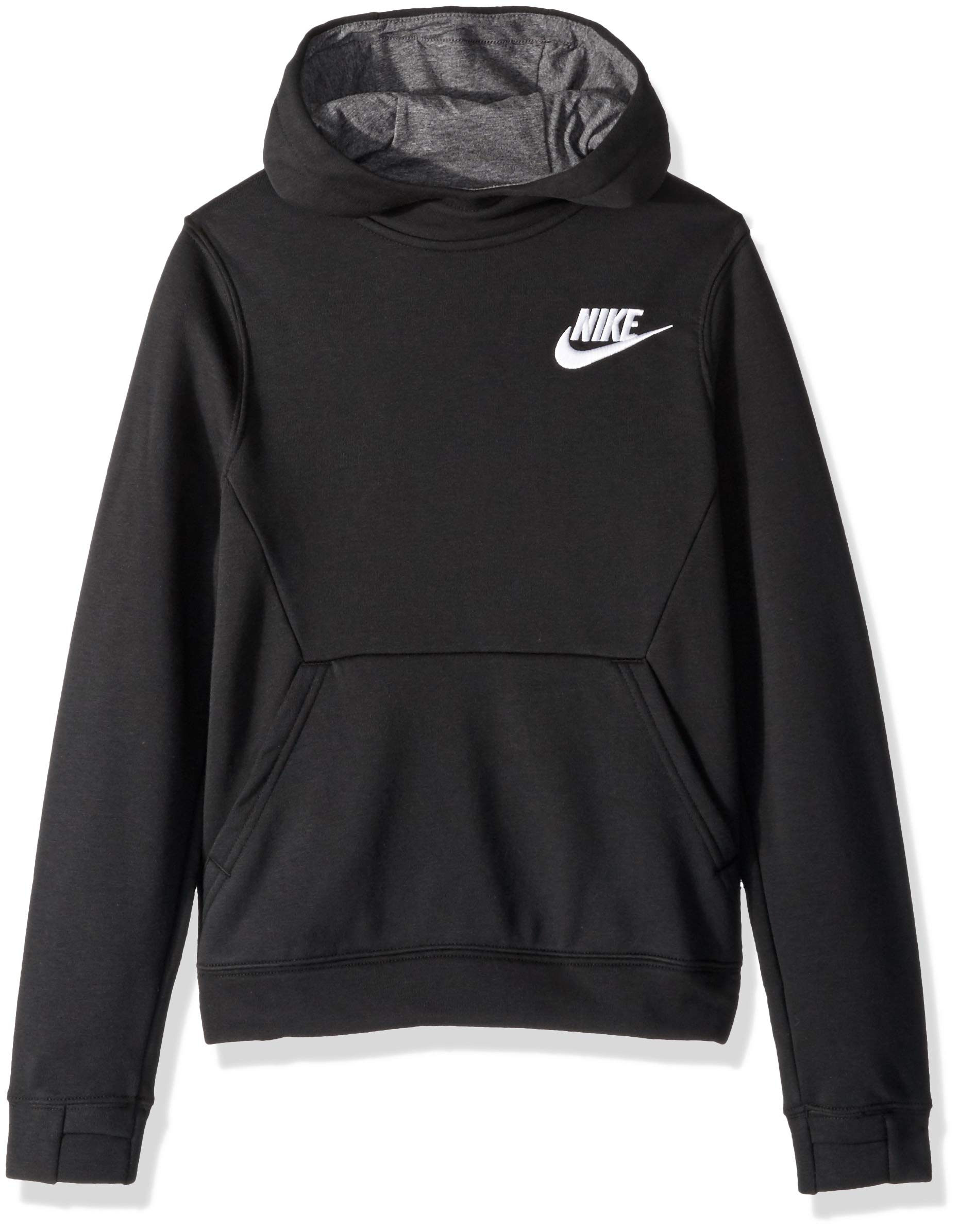 NIKE Sportswear Boys' Club Pullover Hoodie, Black/Charcoal Heather/White, Large