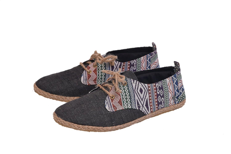 6310d20502 Amazon.com | virblatt Men's lace-up Hemp Shoes Patterned Espadrilles Men  Summer Shoes -Barfußbunt bk 43 Black | Fashion Sneakers