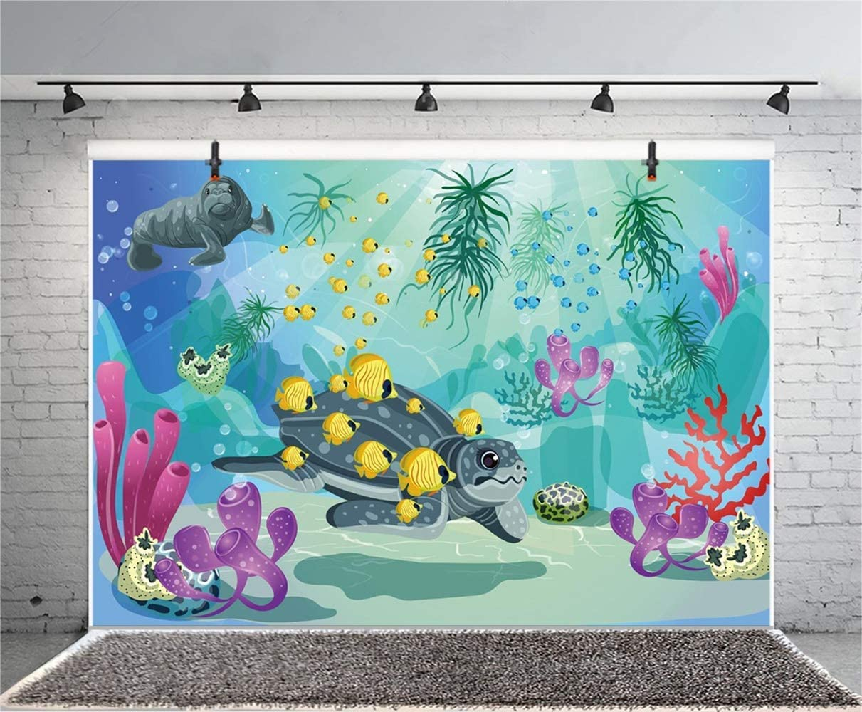 8x6.5ft Cartoon Underwater World Polyester Photography Background Light Beams Turtle Fishes Sea Dogs Coral Plants Backdrop Child Kids Baby Birthday Party Banner Safari Party Wallpaper Studio
