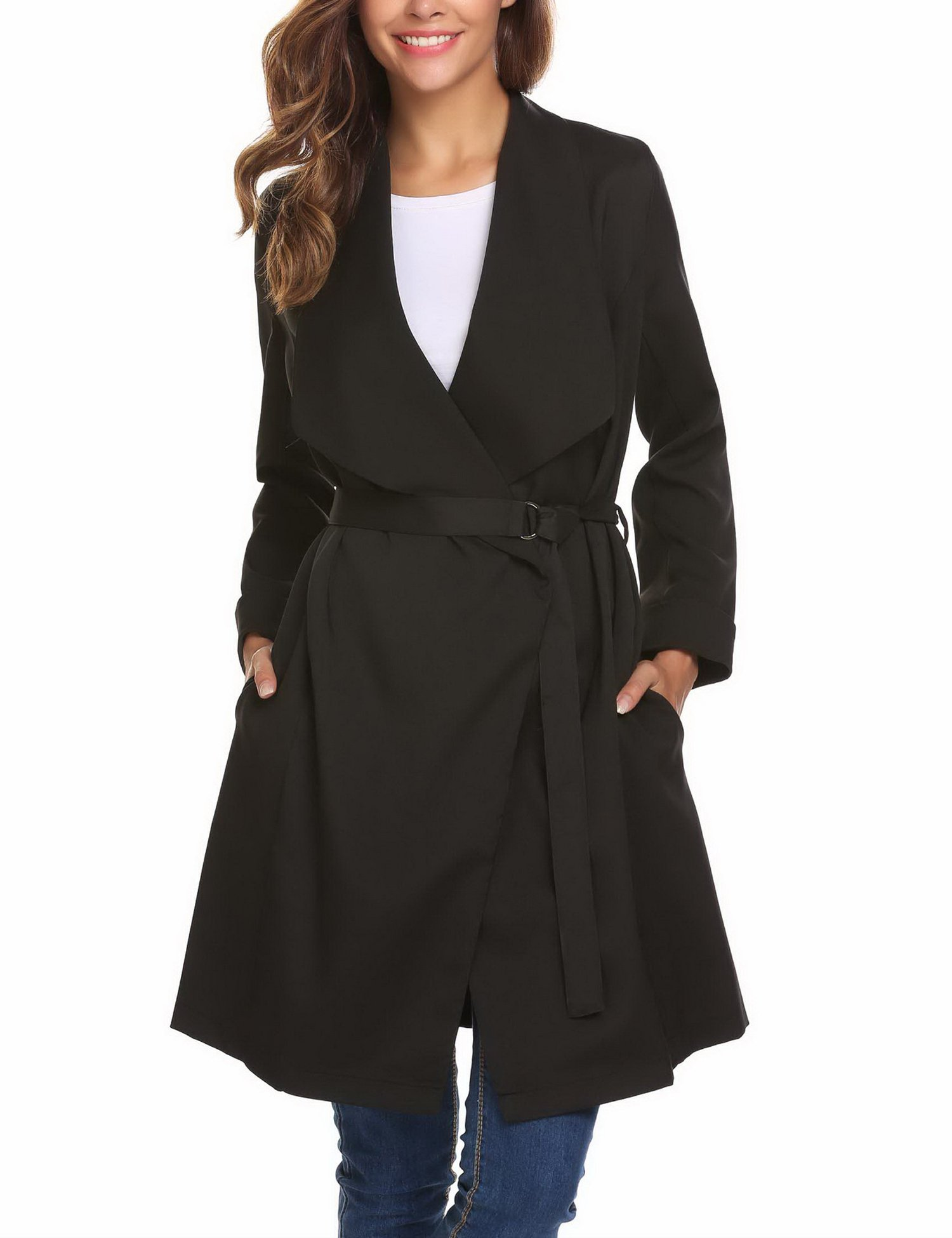 Mofavor Women's Lapel Collar Casual Open Front Cardigan Belted Trench Coat Jacket With Pockets(Black,L)