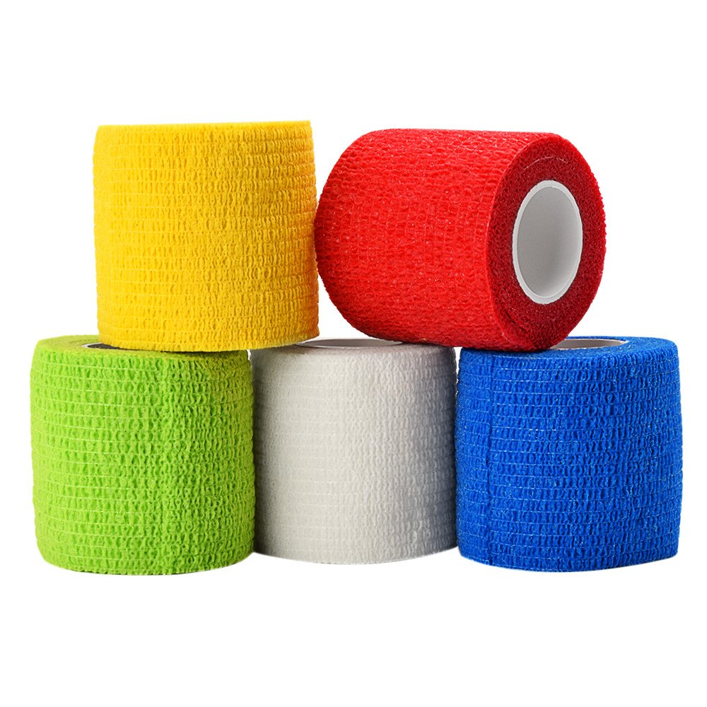 ATOMUS 5pcs Disposable Tattoo Self-adhesive Elastic Bandage for Handle Grip Tube Tattoo Accessories Mix Color