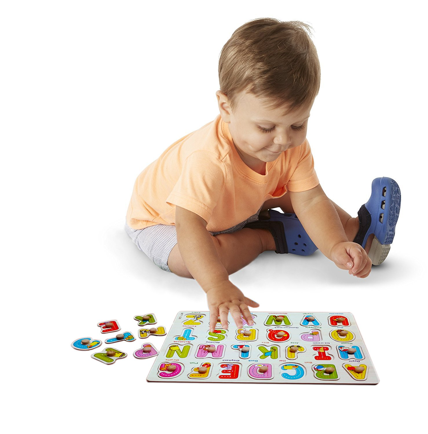 Toddler Puzzles Wooden Peg Puzzles for Toddlers 2 3 4 5 years old (Set of 3) - Numbers, Alphabet and Objects Puzzle by Wallxin by Wallxin (Image #6)
