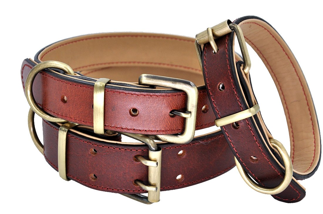 Brown L(Neck fit 17.3 22\ Brown L(Neck fit 17.3 22\ Mihqy Leather Dog Collar Soft Padded Leather Dog Collar with Brass Buckle Heavy Duty Genuine Leather Collar Perfect for Small,Medium and Large Dogs Brown, L(17.3-22 )