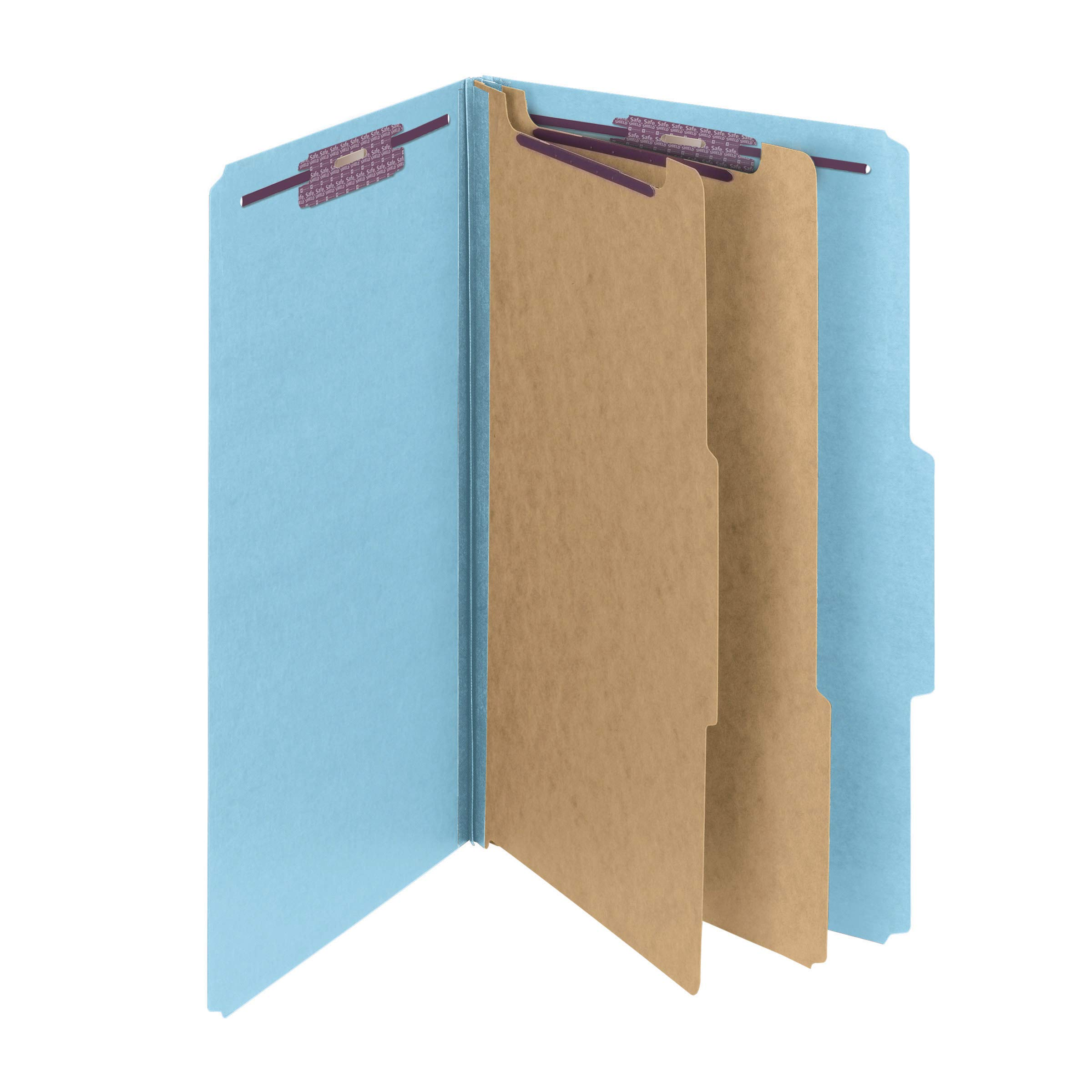 Smead Pressboard Classification File Folder with SafeSHIELD Fasteners, 2 Dividers, 2'' Expansion, Legal Size, Blue, 10 per Box (19030)