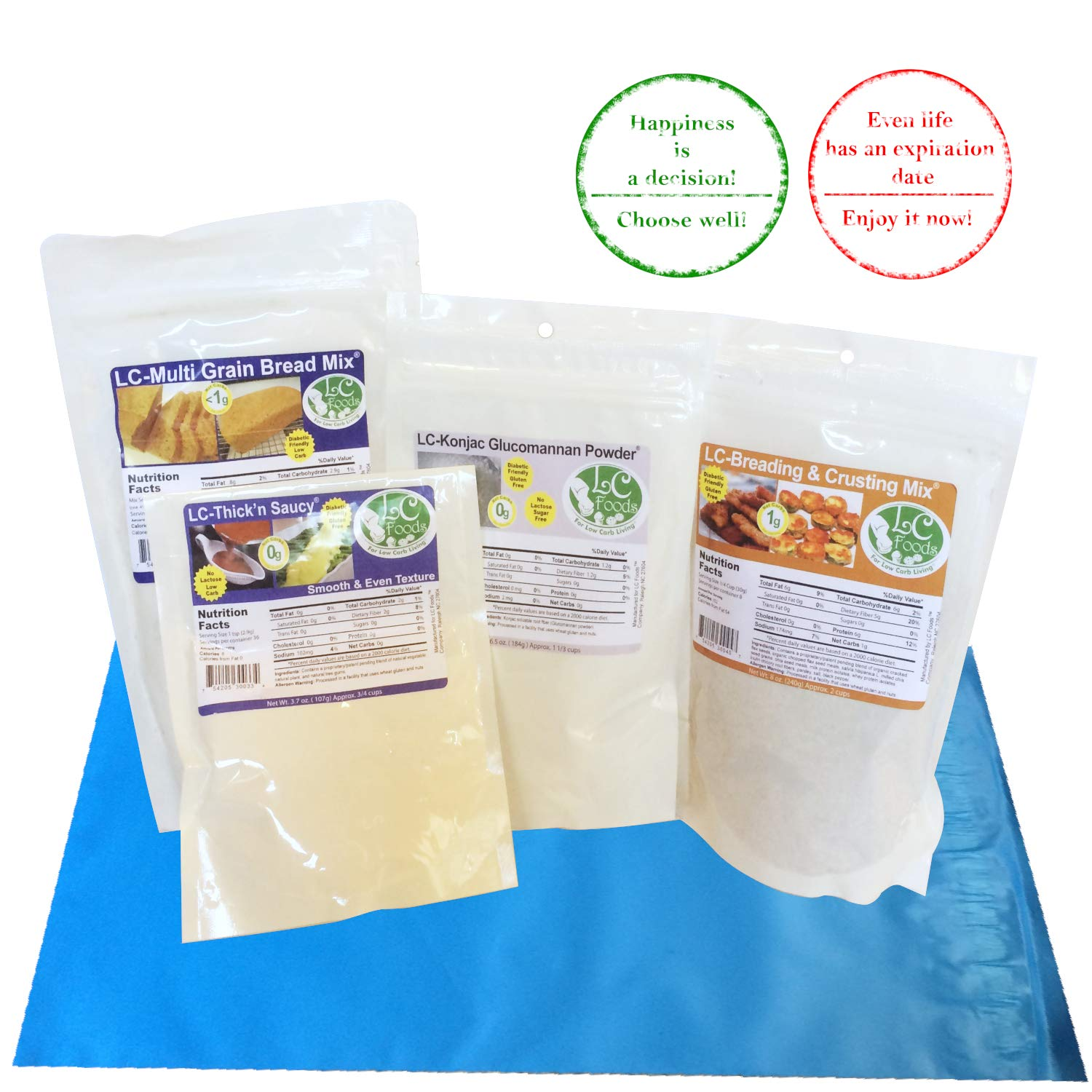 Low Carb Keto Bread Mix   Multi Grain Bread Mix + Gluten Free Breading & Crusting Mix + Thick n Saucy + Konjac Glucomannan by LC Foods   Diet Protein Food   Keto Baking Foods
