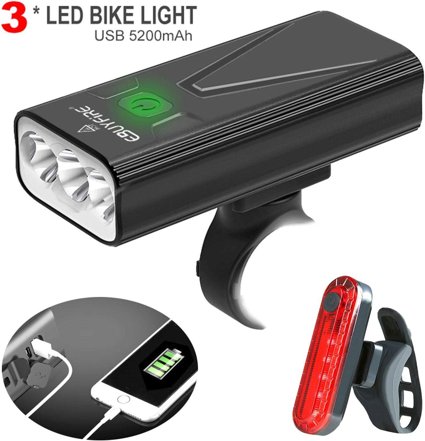 EBUYFIRE Luz Bicicleta LED Recargable USB, 3000 Lumens 5200 mAh Potente Luces Bicicleta Delantera y Trasera, 3 Modos, IPX5 Impermeable Luces Seguridad para Ciclismo de Montaña y Carretera