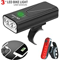 EBUYFIRE USB Rechargeable Bike Light Set, 3000 Lumens Bike Headlight 3 LED【Upgrade Mount】,Super Bright Headlight Front…