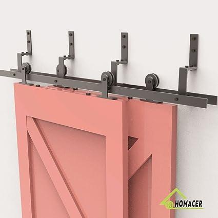 Genial Homacer Sliding Barn Door Hardware Bypass Double Door Kit, 20FT Flat Track  Z Shape
