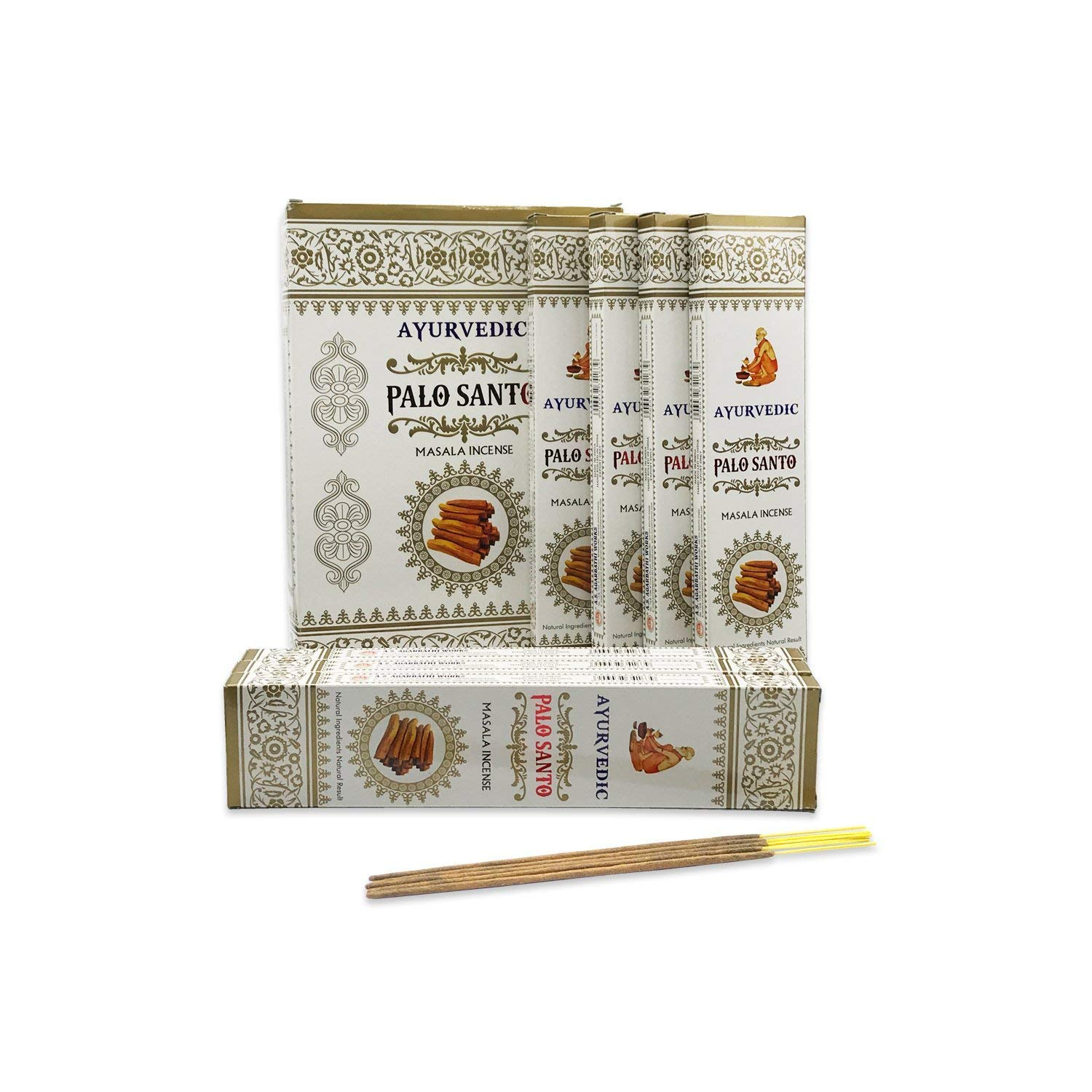Ayurvedic Palo Santo (Holy Wood) Masala Incense | 12 Packs x 15 Sticks | Box of 180 Sticks | Premium and Export Quality Product A.S Agarbathi Works
