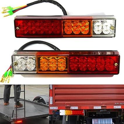 Par 24v LED Trasero Luces Luz 4 FUNCIONES Tráiler Caravana Camión 20