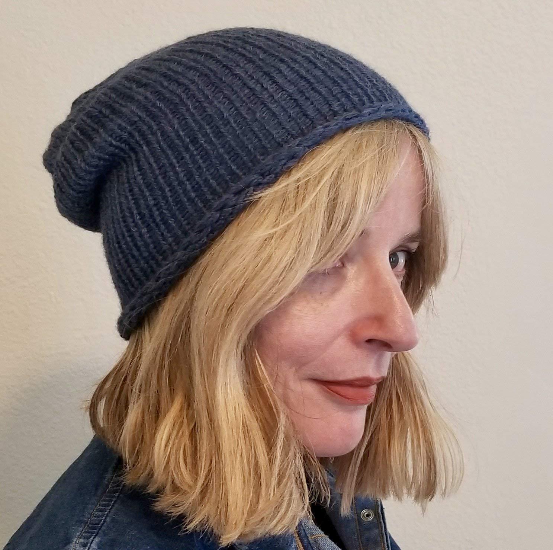 Dark Blue Alpaca fitted Lightweight Hypoallergenic Beanie Hat with slouch
