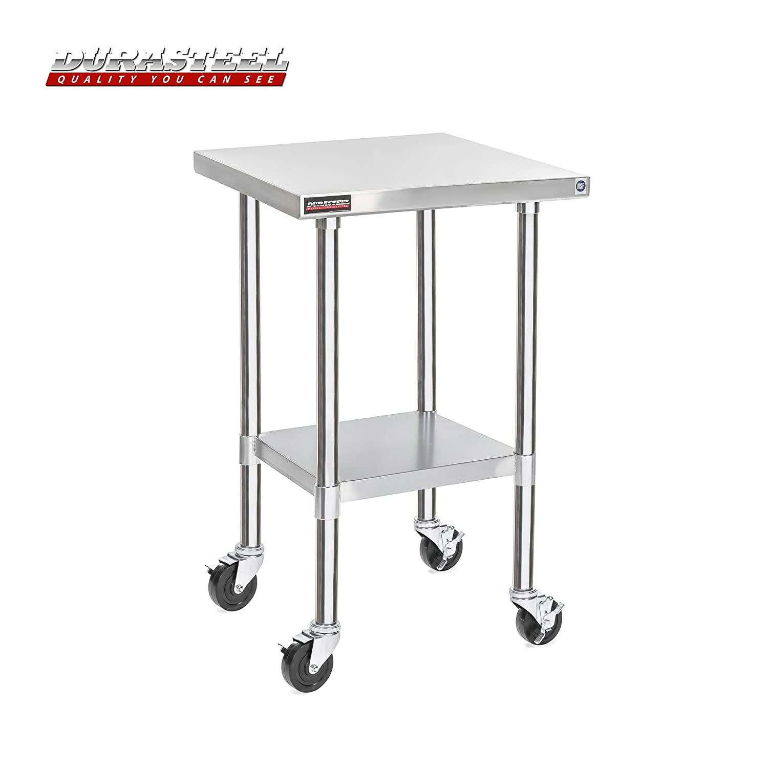 """DuraSteel Stainless Steel Work Table 24"""" x 24"""" x 34"""" Height w/ 4 Caster Wheels -Food Prep Commercial Grade Worktable - NSF Certified - Good For Restaurant, Business, Warehouse, Home, Kitchen, Garage"""