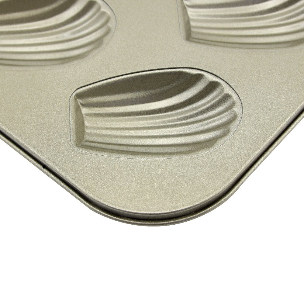 10.43 × 7.28 × 0.66 inch Madeleine Pan 6 Cups Shell Shaped Baking Pan kitchen Bakeware Set Madeleine Cookie Pan Baking Trays for Oven Non Stick 2 Pack (Shell Madeleine Pans) by Easy Style (Image #4)