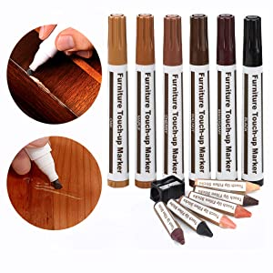 Furniture Repair Wood Repair Markers Touch Up Repair pen-13PC-Markers and Wax Sticks,for Stains,Scratches,Wood Floors,Tables,Carpenters,Bedposts-6 Felt Tip Wood Markers,6 Wax Sticks with Sharpener Kit
