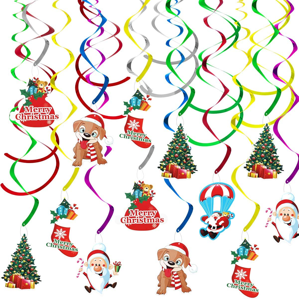 Amazon Com Mewtogo 36pcs Christmas Hanging Swirl Decoration Kit Christmas Decorations Merry Christmas Ceiling Decorations Swirl Foil Garland Xmas Decor For Winter Holiday Wonderland Themed Party Supplies Toys Games