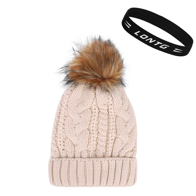Damenmütze warme Mütze Strickmütze Wintermütze Bommelmütze dick warm NEU