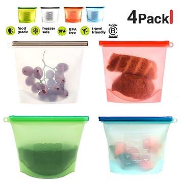 Bolsa para alimentos de silicona, reutilizable, cierre ...