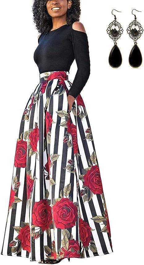 TALLA XL. carinacoco Mujer Vestido Fiesta Vintage Floral Impresa Dos Piezas de Cóctel Fiesta Color 5 XL