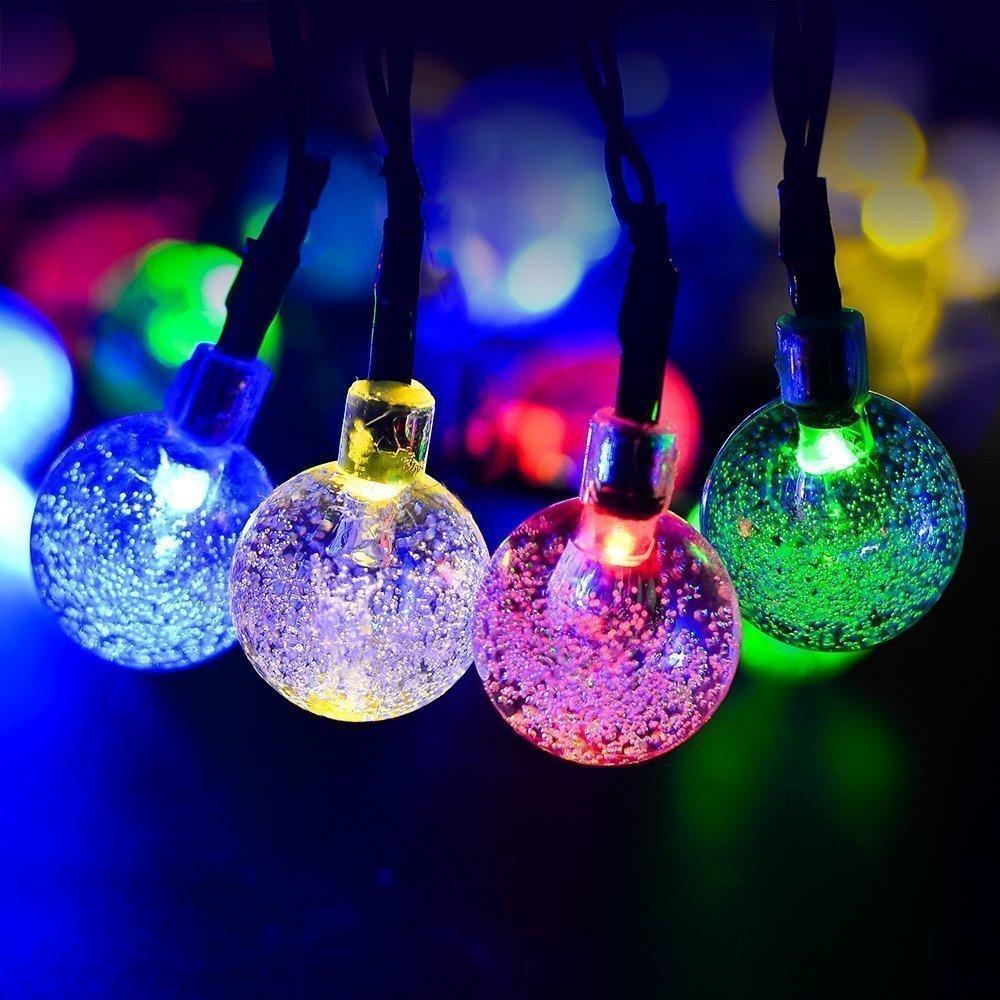 30LED Solar Powered Xmas Tree String Crystal Ball Lights Outdoor Garden Party UK