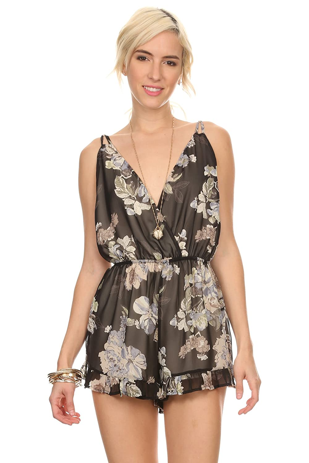 MeshMe Womens Sweet Pea - Floral Printed Open Back Romper