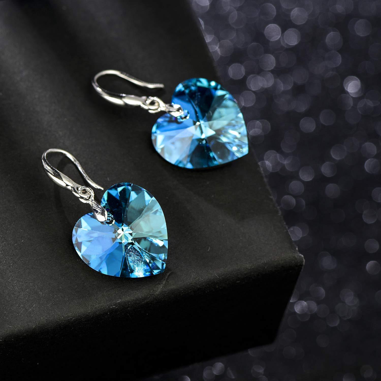 Swarovski Crystal Heart Dangle Hook Earrings for Women Girls Drop Earrings 14K Gold Plated Hypoallergenic Jewelry
