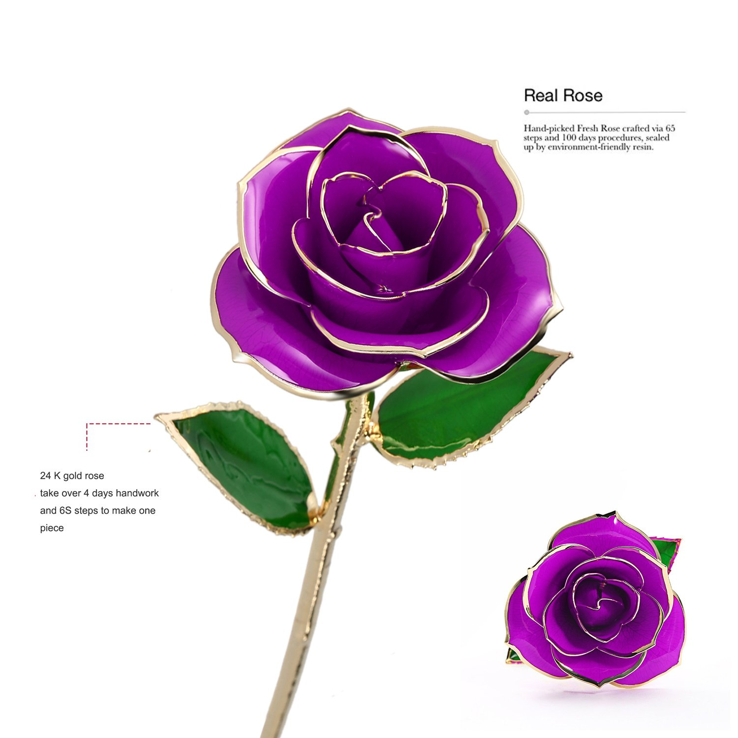 Purple K/_LUCKYI 24K Gold Rose with Gift Box is Unique Gift for Valentines Day Mothers Day Christmass Day Lovers Birthday with Stand