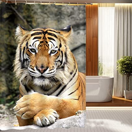 Tiger Shower Curtain 3D Printed CurtainPrint Waterproof And Stain Proof