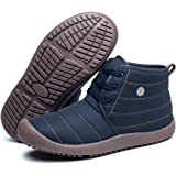 EXEBLUE Mens Womens Lace UP Winter Ankle Boots Outdoor Shoes,Water Resistant Chukka Boots with Cotton-Padded