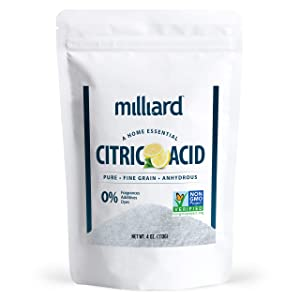 Milliard Citric Acid 4 Ounce - 100% Pure Food Grade NON-GMO Project VERIFIED