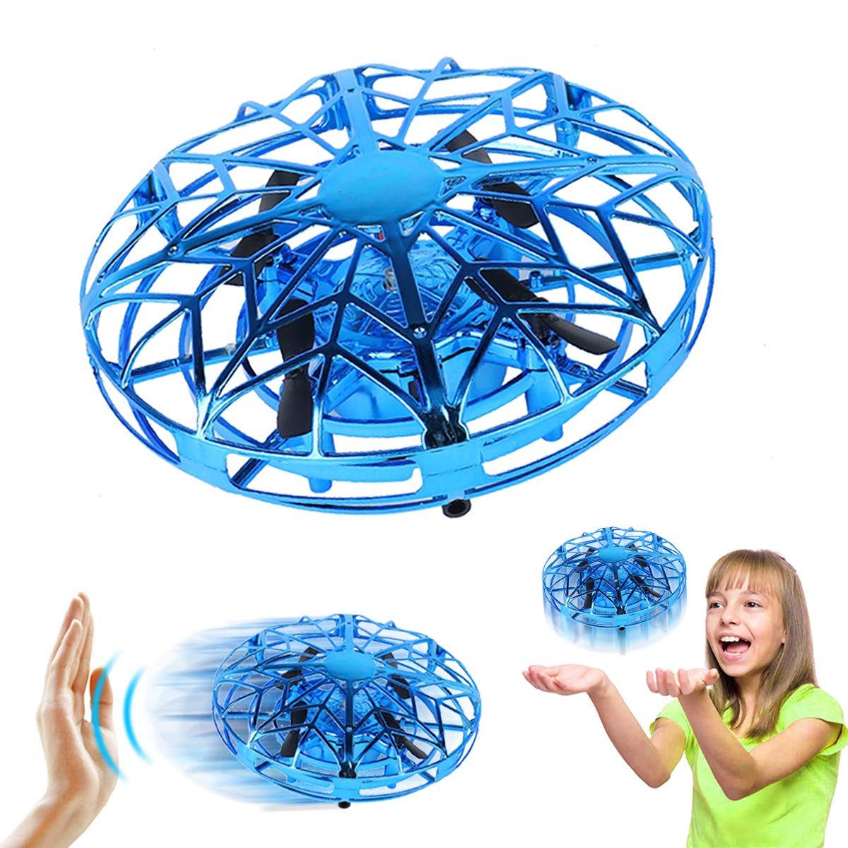 Joyfun Toys for 3-10 Year Old Boys Girls Flying Ball Mini Drone for Kids Air Magic Hogs Hand Controlled Flying Toys UFO Remote Control Helicopter Birthday Gifts Blue by Joyfun (Image #1)