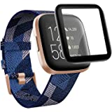 QIBOX Screen Protector Compatible with Fitbit Versa 2, 2-Pack 3D Full Coverage Curved Edge Protective Screen Cover…