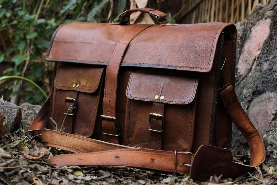 "HLC 16"" Inches Classic Adult Unisex Cross Shoulder Leather Messenger Laptop Briefcase Bag Satchel Brown delicate"