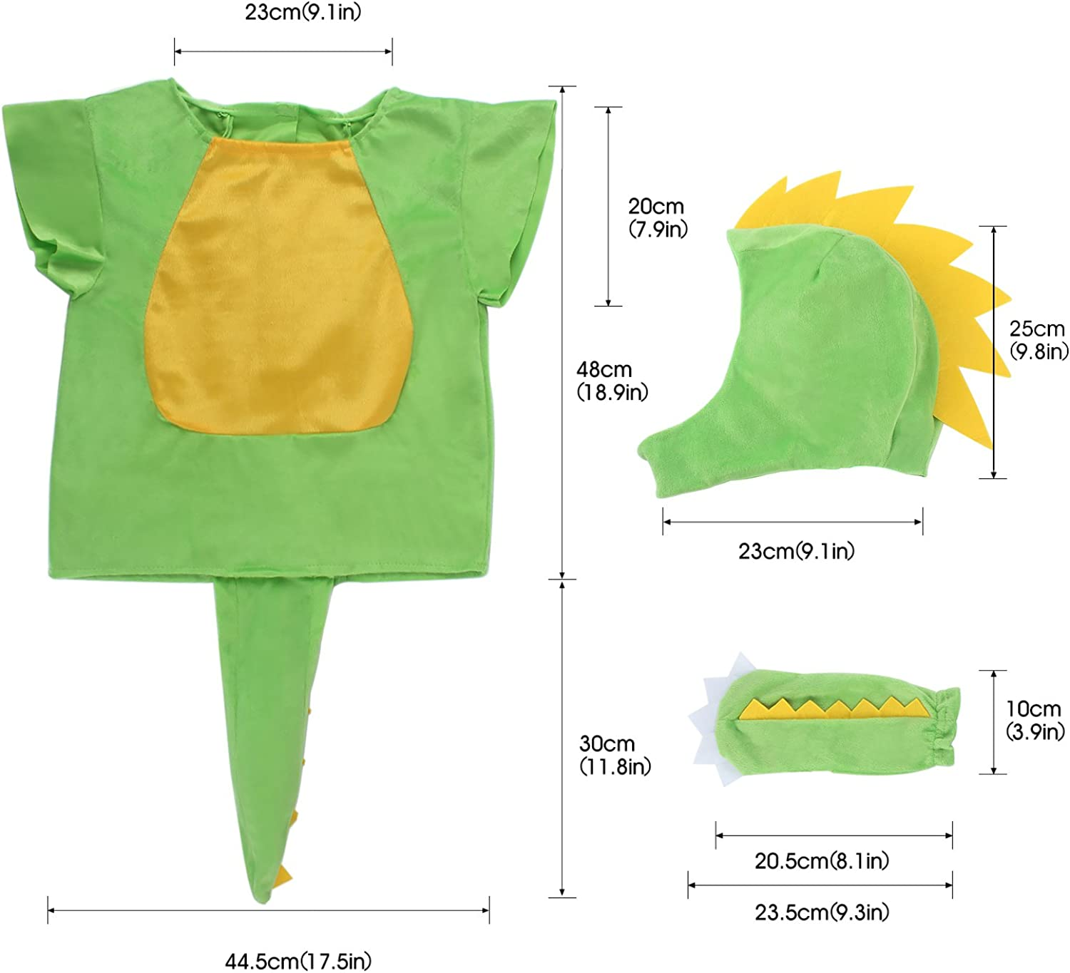 Toiijoy 4Pcs Kid/'s Dinosaur Costume Dress up Set for Toddlers Childrens Ages 3-7
