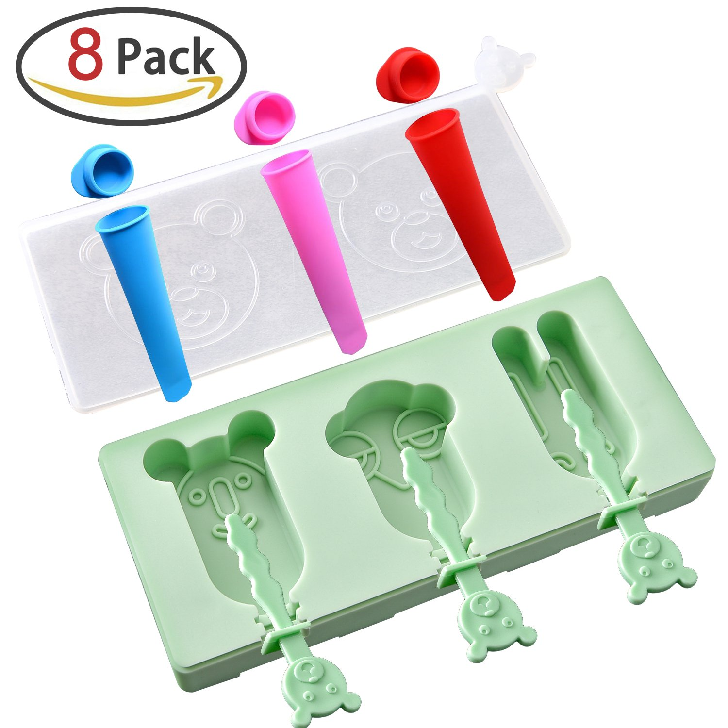 Ice Lolly Moulds Silicone, Peicci Reusable DIY Frozen Ice Cream Mould with Dust Cover and 3 pcs Popsicle Moulds, BPA Free