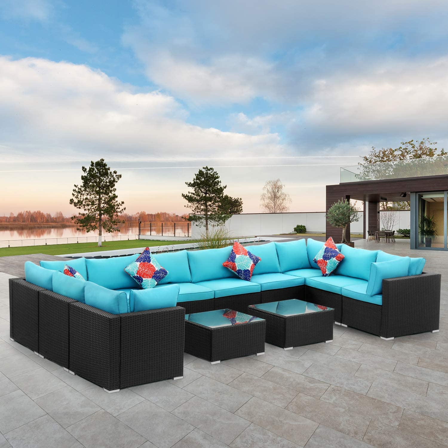 Diophros 12 Pieces Patio Furniture Sets, Outdoor All-Weather Sectional Sofa, Weaving Wicker Rattan Patio Conversation Set with Cushions & Glass Coffee Table (Lake Blue)