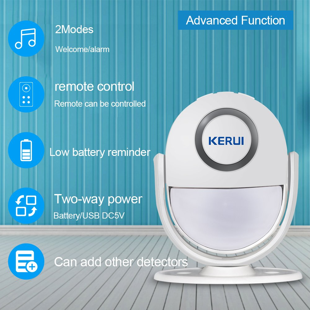 Infrared Motion Detector,KERUI Wireless Mini Sensor Alarm Visitor ...
