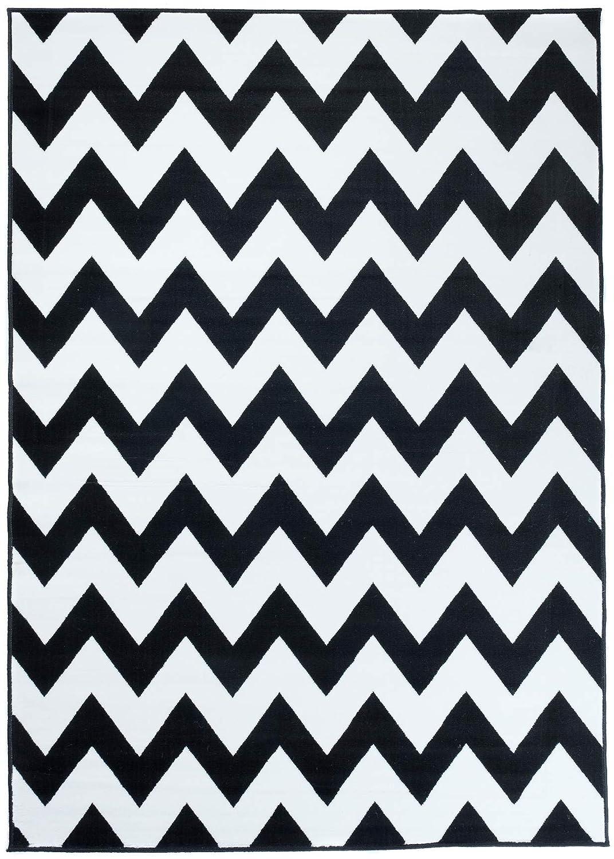 Tapiso Fire Teppich Modern Kurzflor Geometrisch Zig Zag Marokkanisch Muster Schwarz Weiss Designer Wohnzimmer 250 x 350 cm