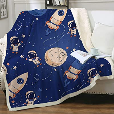 """Sleepwish Kids Blanket Dark Blue Sherpa Throw Boys Colorful Rocket Ship Outer Space Pattern Plush Blanket Cute Astronauts Planets Stars Fleece Throw for Sofa Chair Bed Travelling,Throw (50"""" X 60""""): Home & Kitchen"""
