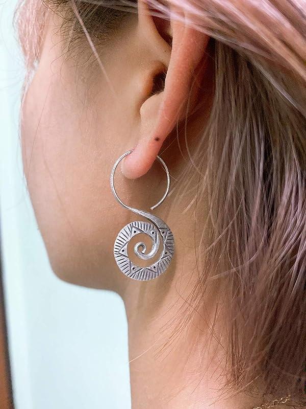 Ethnic Earrings Boho Earrings Silver Plate Spiral Flower Earrings Gypsy Earrings Funky Earrings Tribal Earrings Tribal HoopSP79P7