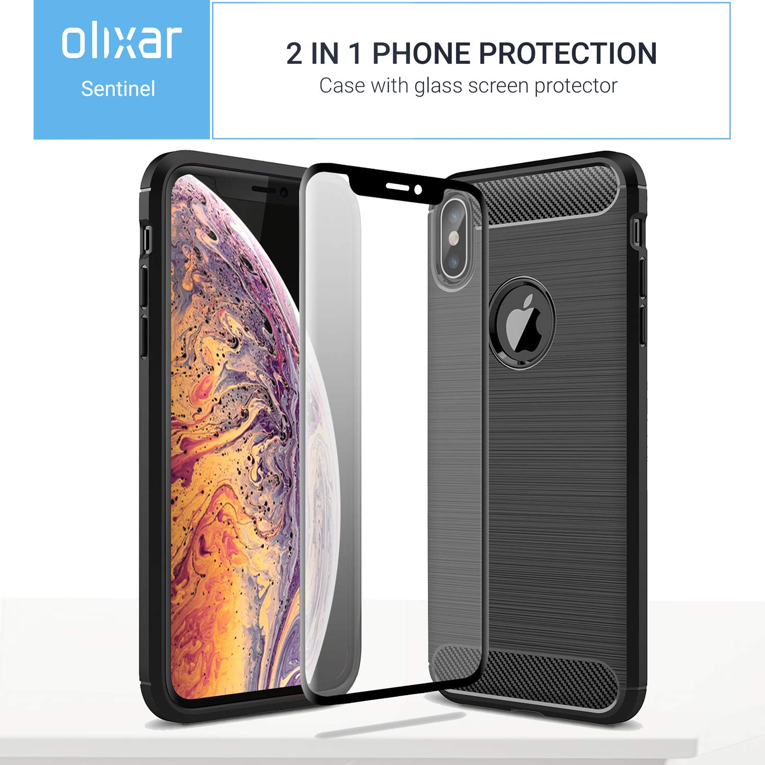 pretty nice 6e5d0 8bf82 Amazon.com: Olixar iPhone Xs Max Case with Screen Protector - Case ...