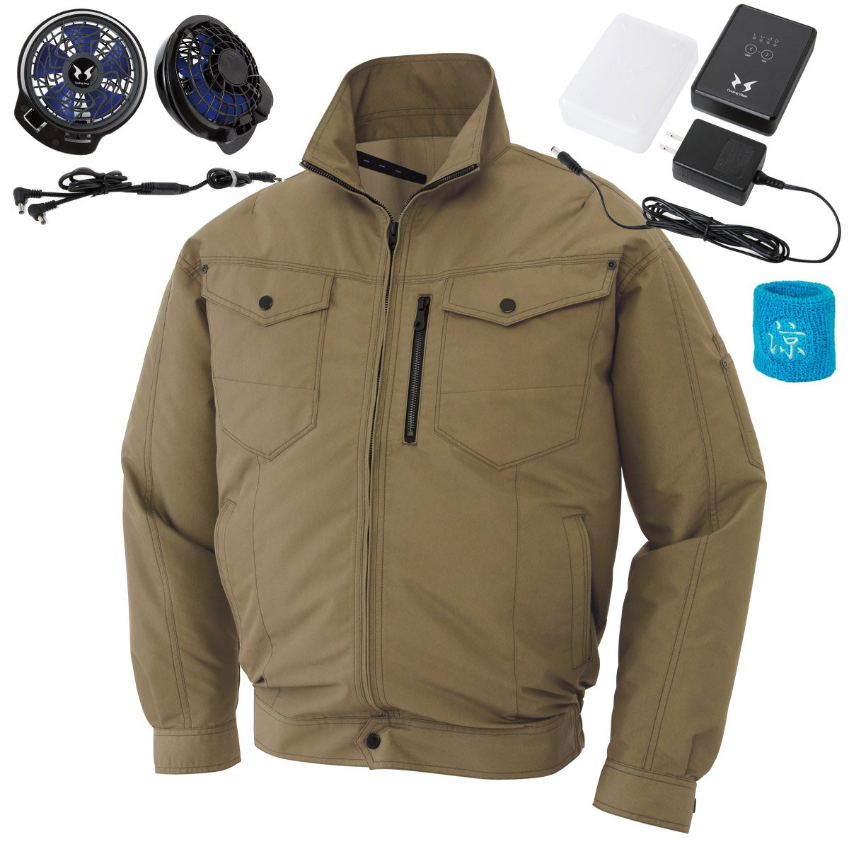 空調服 空調風神服 2017年新商品 保冷材ポケット付長袖ブルゾン(2017年最新型/日本製/リチウムイオンバッテリー/新型ファン/リストバンド)099‐KU95104R B072JJKJG6 XL|21-カーキ 21-カーキ XL