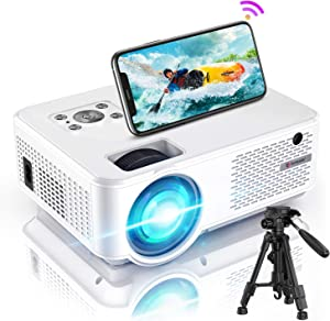 Bomaker Projector for Outdoor Movies, HD 1080P Supported, Mini WiFi Projector Ultra Portable, Wireless Screen Mirroring, Compatible with TV Stick, PS4, DVD Players, iPhone, Android, Windows