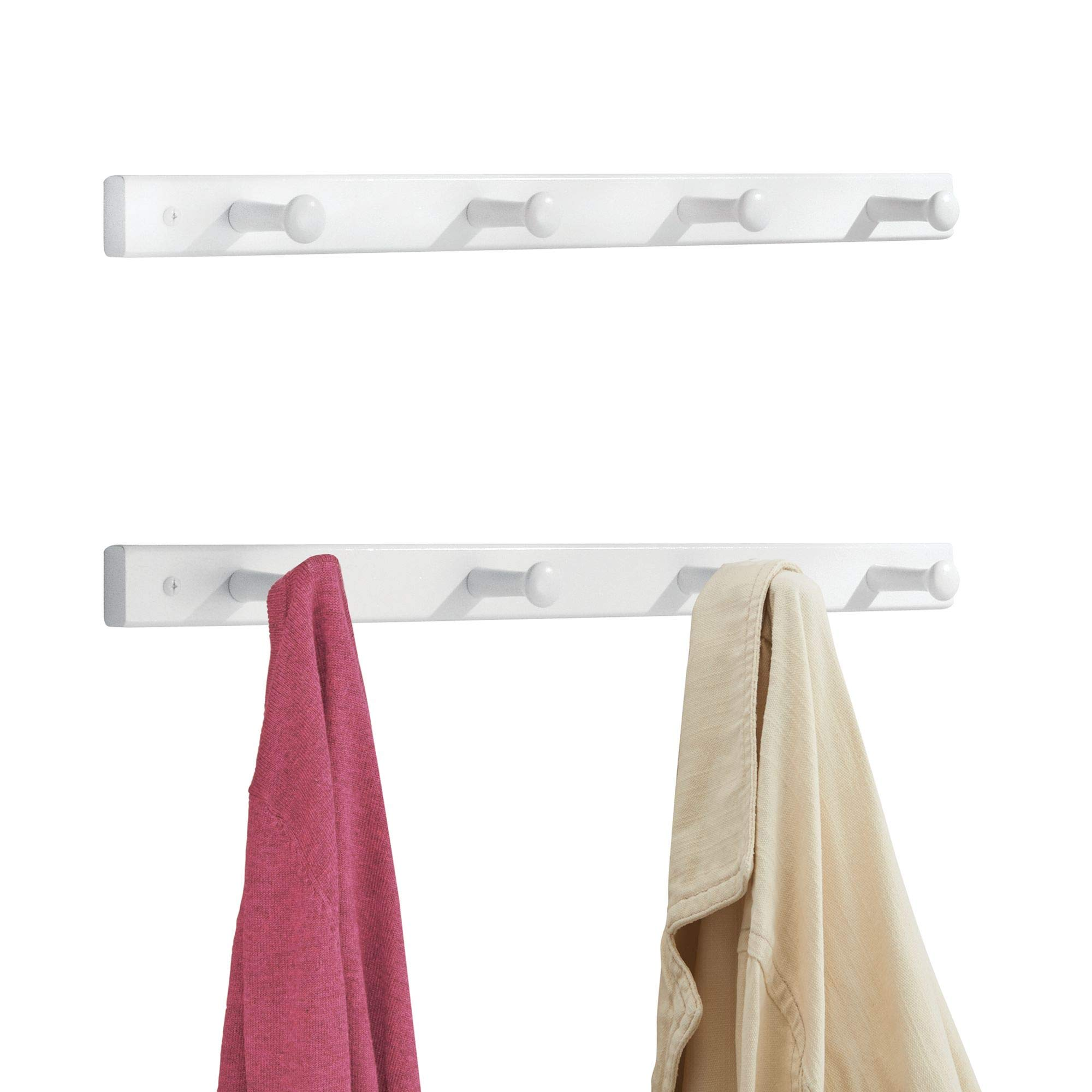 mDesign Wall Mounted Entryway Hallway Shaker Storage Organizer Wood Racks for Jackets, Coats, Hats, Scarves - Pack of 2, 4 Pegs Each, White