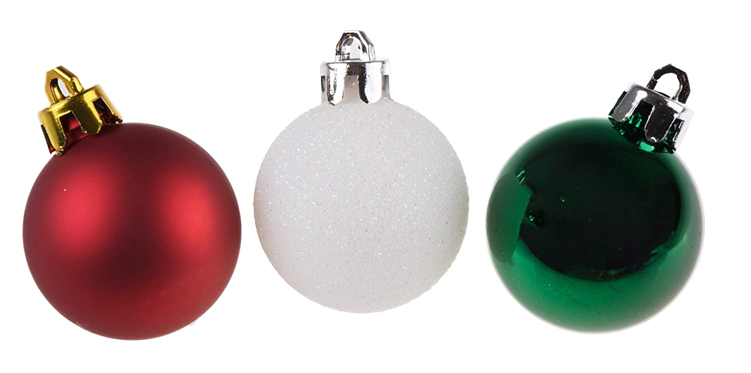 Amazon.com: 54 Piece Red, White and Green Christmas Ornament Set by ...