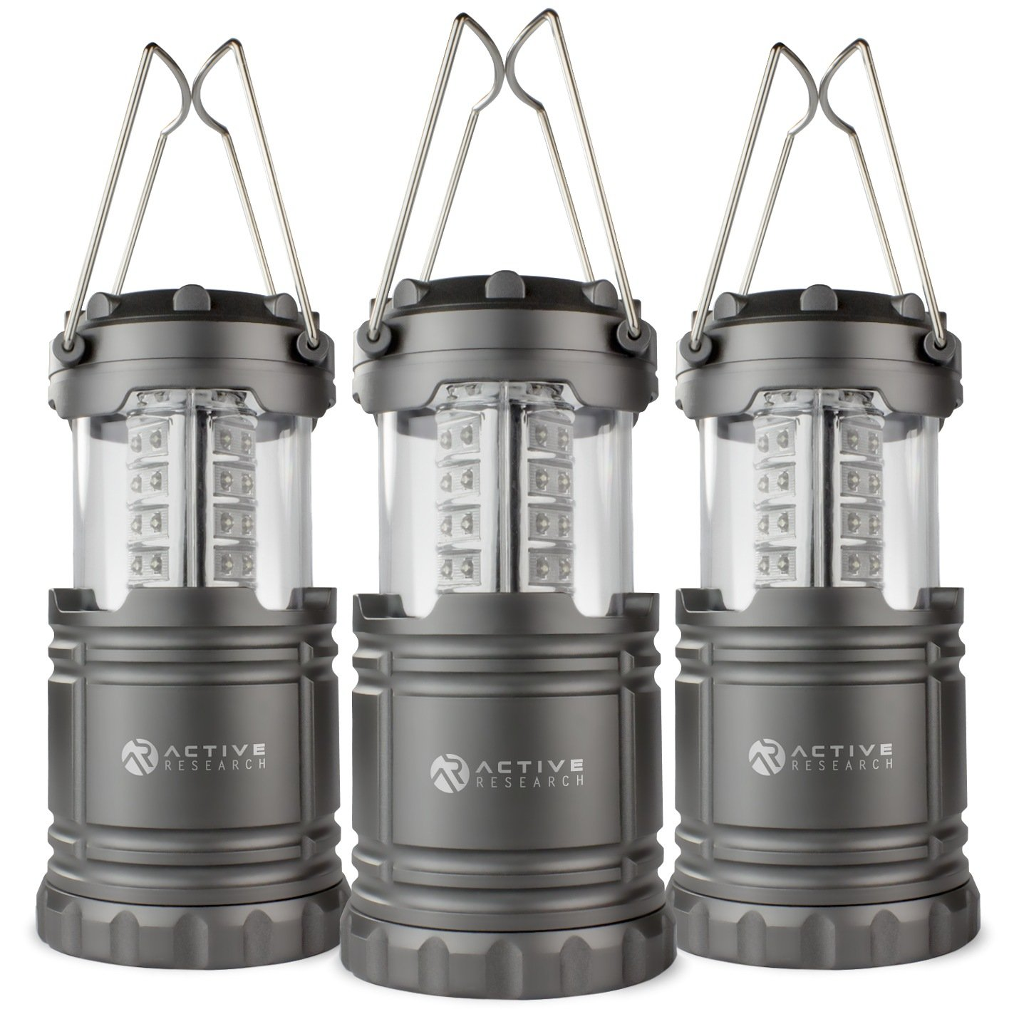 Active Research LED Lantern - Best Ultra Bright Portable Flashlight - Water Resistant Lantern For Camping, Outdoors, Hunting, Emergencies, Hurricanes, Outages - 30 LED Battery Powered - 3-Pack