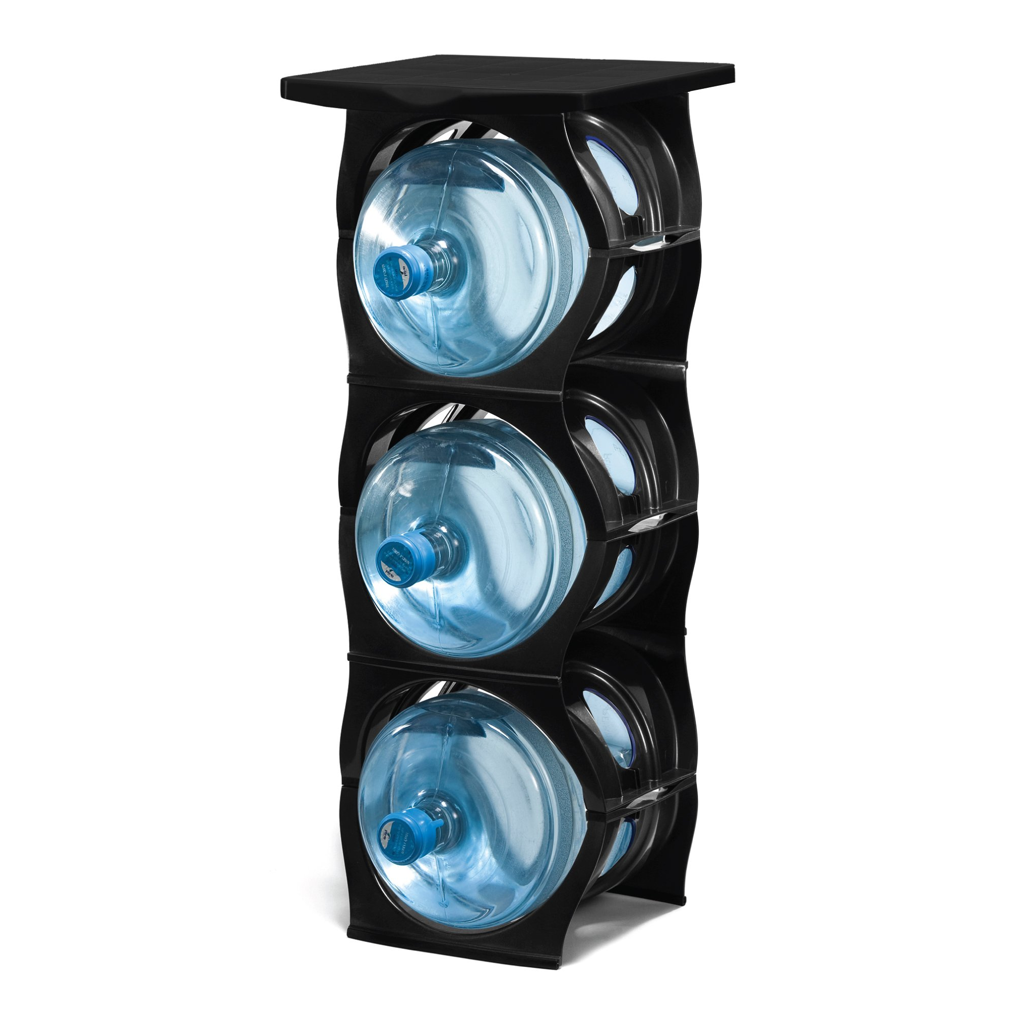U-STACK Water Bottle Storage Rack - Holds Three 5 Gallon Bottles for Water Coolers (3 Bottle with Shelf) (Black)