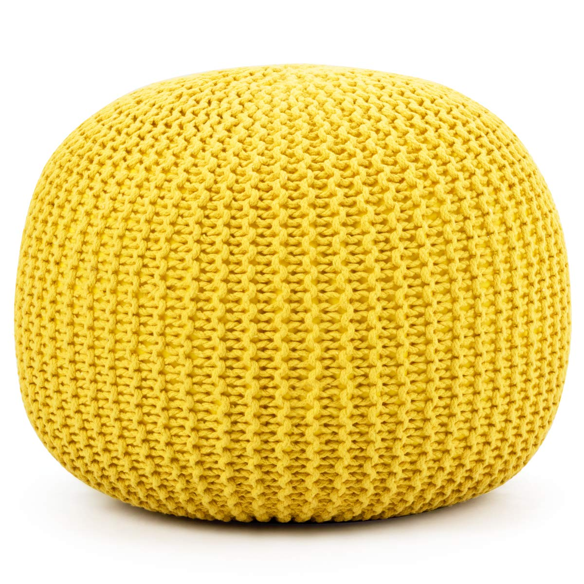 Giantex Pouf Round Knitted Hand Knitted Dori Cable W/Handmade Cotton Braid Cord, Home Decorative Seat for Guests, Ideal for Living Room, Bedroom, Kid's Room Floor Ottoman Footrest (Yellow) by Giantex