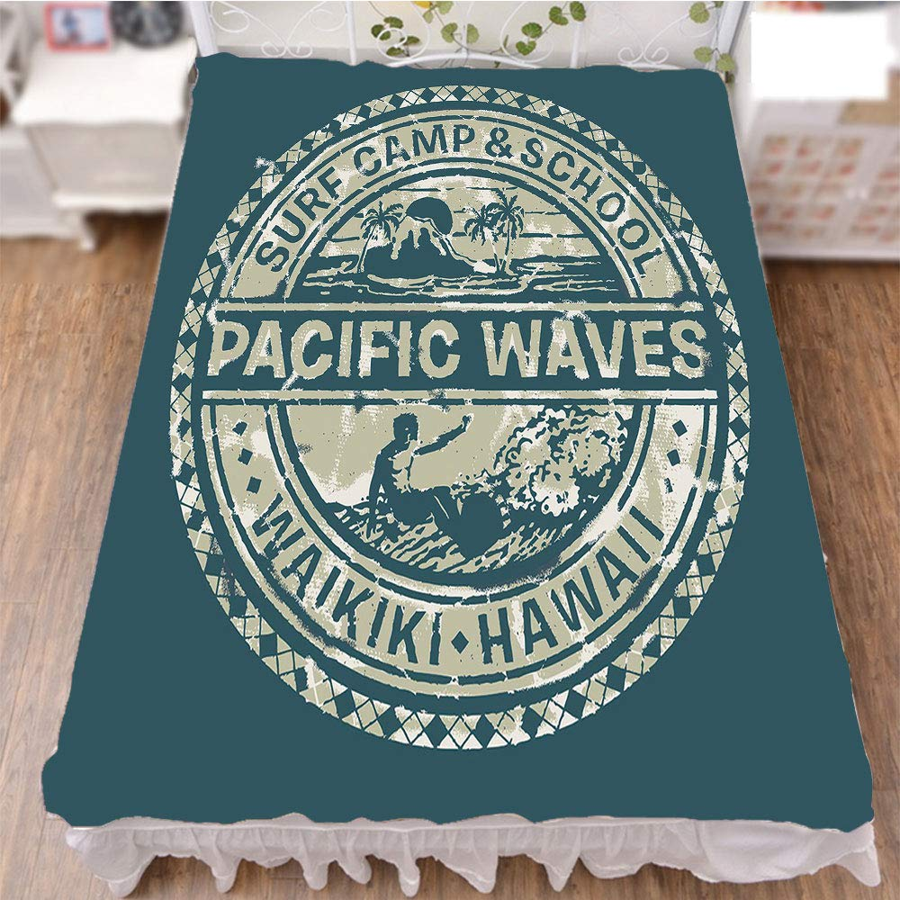 iPrint Bedding Duvet Cover Set 3D Print,School Hawaii Logo Motif with Artsy Effects,Fashion Personality Customization adds Color to Your Bedroom. by 59''x78.7''