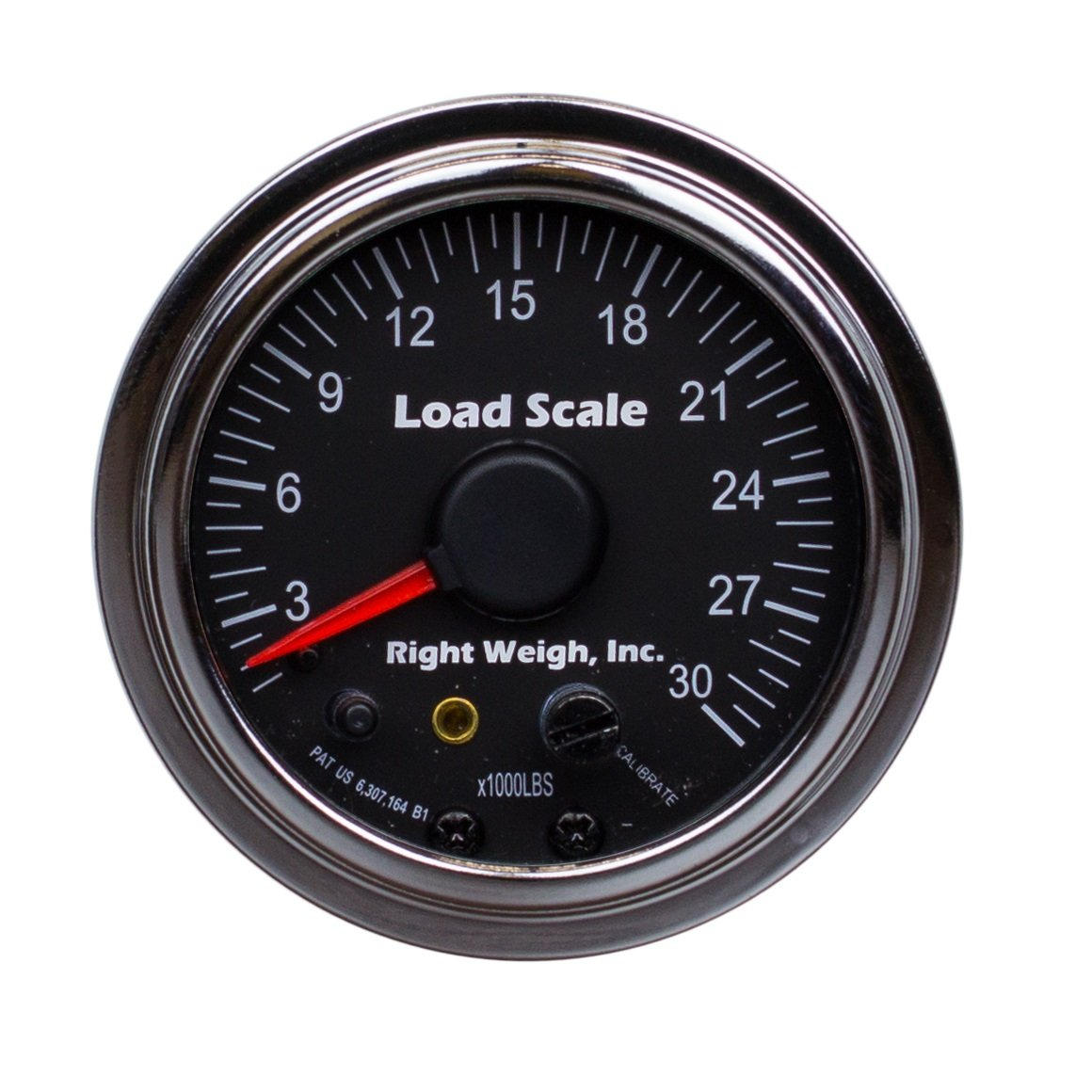 510-30-C Chrome Interior Analog Onboard Load Scale - For Single Axle Air Suspensions with One Height Control Valve - 7 Color LED by Right Weigh Load Scales
