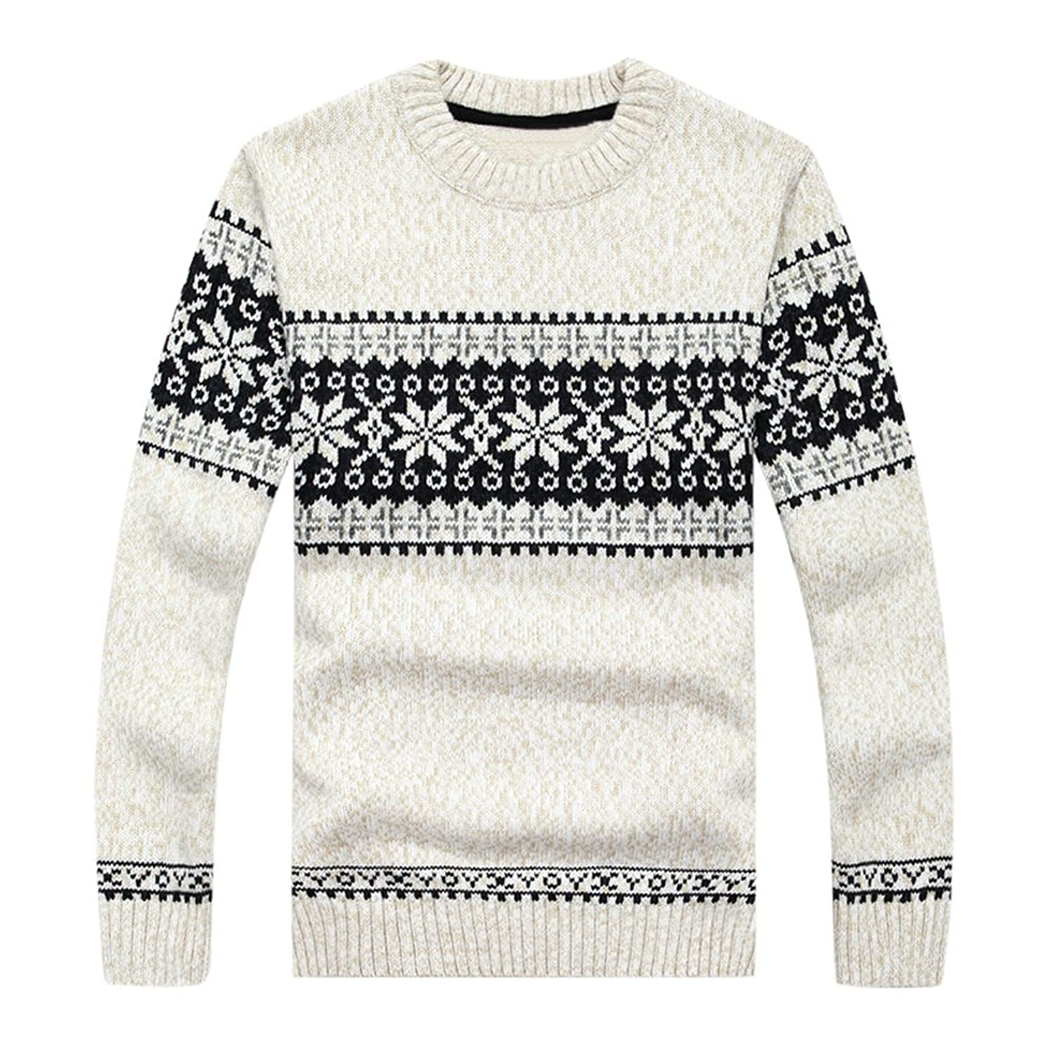 Men's Thicken Long Sleeve Brocade Round Neck Pullover Knitted Sweater